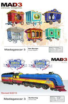 Prop Design, Game Design, Madagascar, Dreamworks, Illustrations, Illustration Art, Circus Train, Animation Reference, Game Assets
