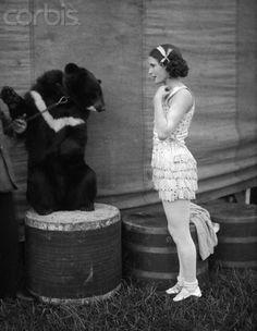 Circus girl with bear