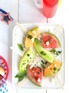 Summer Fruit Wands from @sayyesblog - For a refreshing summer treat, sprinkle watermelon fruit skewers with fresh mint, feta cheese, and a drizzle of olive oil and salt.