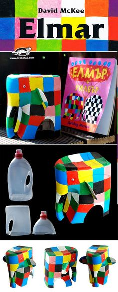 Elmer the Elephant Diy For Kids, Crafts For Kids, Elmer The Elephants, Diy Paper Christmas Tree, Dance Crafts, Plastic Bottle Art, Sensory Art, Diy Bird Feeder, Animal Crafts