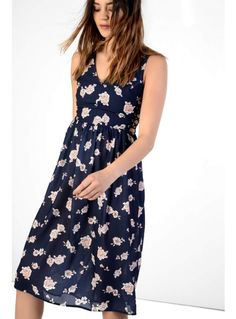 Navy floral midi dress with lace up sides