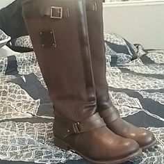 CAT Corrine riding boots EUC leather and canvas riding boots from Caterpillar. Corrine riding boot with leather sole and canvas upper. Leather accent straps with buckle give these boots a gorgeous riding boot look. Color does not match stock photo. Color well represented in actual pictures. Caterpillar  Shoes