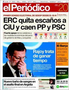 Los Titulares y Portadas de Noticias Destacadas Españolas del 20 de Enero de 2013 del Diario El Periódico ¿Que le parecio esta Portada de este Diario Español?