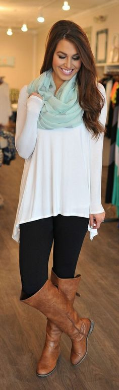Ways to Style Leggings! Keep things simple by layering your favorite basic tops and #accessories over your leggings, and throw on a pair of riding boots to seal the deal! Where would you sport this style?