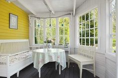 Yellow Cottage Somewhere in Sweden ♥ Cottage Porch, Home Porch, Enclosed Porches, Decks And Porches, Front Porches, Yellow Cottage, Yellow Houses, Porch Swing, Pergola Swing
