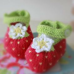 Strawberry Crochet Shoes..... I used the pattern from Cutest Ever Baby Knits by Val Pierce.