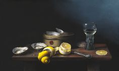 'Oysters & Lemon' Oil on Panel: 42 x 70 cm by Brian Davies (1942 - 2014)