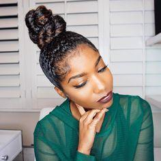 Braids + Twists Natural hair bun Your Matchmaker Recommends a Titanium Wedding Ring Article Body: Yo Natural Hair Bun Styles, Natural Hair Updo, Curly Hair Styles, Au Natural, Natural Girls, Natural Beauty, Knot Bun, Hair Knot, Bun Bun