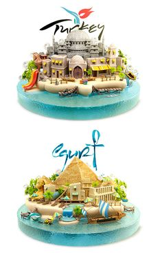 Turkey vs Egypt illustrations created by ILYA Denisenko. Which of the two do you prefer and why? Crea Design, 3d Design, Game Design, Graphic Design, Creative Advertising, Advertising Design, Game Concept, Concept Art, Bienes Raises