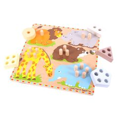 Five safari animals…but which shape should each one be carrying? This brightly coloured board encourages young minds to discover different shapes and count from one to five as they work out which piece attaches to which animal. This educational puzzle helps to develop an understanding of shapes and numbers. Consists of 5 sorting pieces and a board. Ages 2 years and up. http://shop.bigjigstoys.co.uk/p/safari-animal-sorting-puzzle