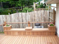 deck storage bench with planters