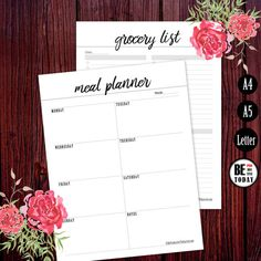 Meal Planner Printable Grocery List Page Menu by BeProductiveToday