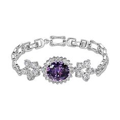 OKAJEWELRY 1028Ct Oval Cut Sapphire Cubic Zirconia CZ 82 Flower Tennis Bracelet 82 Inches -- You can get additional details at the image link.