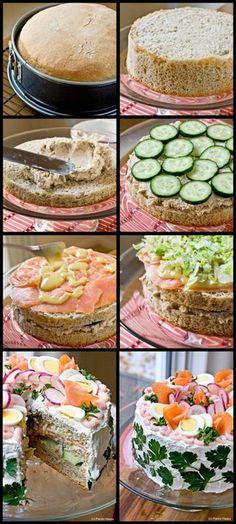 Smörgåstårta Scandinavian Sandwich Cake, via panini happy, recipe @ www. Sandwhich Cake, Sandwich Torte, Sandwich Fillings, Appetizers For Party, Appetizer Recipes, Salad Cake, Party Sandwiches, Good Food, Yummy Food