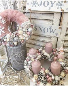 Christmas Advent Wreath, Pink Christmas Decorations, Christmas 2019, Winter Christmas, Shabby Chic Wreath, Navidad Diy, Xmas Crafts, Diy Wreath, Christmas Inspiration