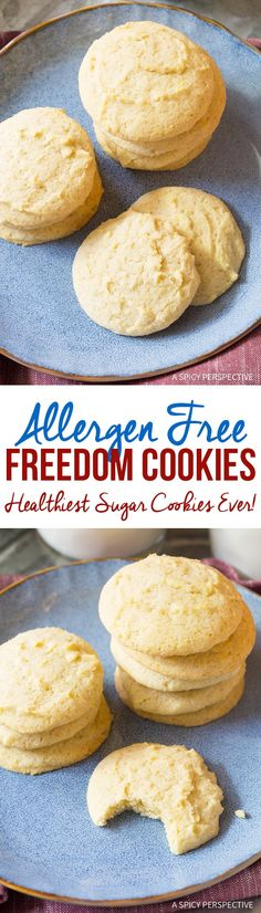 Freedom Cookies (Healthiest Sugar Cookies Ever!) This easy sugar cookie recipe tastes amazing, yet is gluten free, dairy free, nut free, sugar free, and low carb to fit into any diet! via @spicyperspectiv