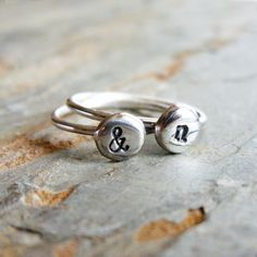Stacking Set of Two Sterling Silver Initial Rings  by brightsmith, $48.00