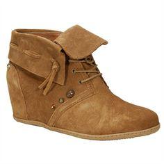 Dolce Vita Kiel Suede Leather Wedge Boot | from Von Maur #VonMaur #Cognac #AnkleBoot #Shoes