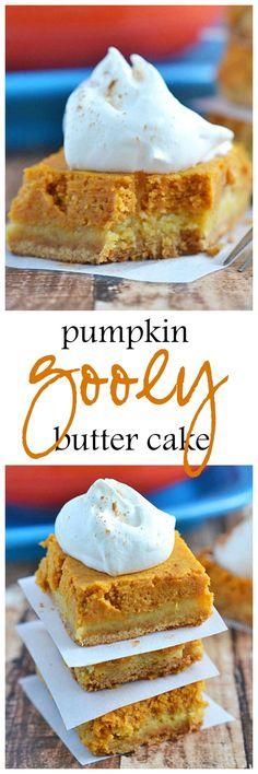Pumpkin Gooey Butter Cake | fall recipes | pumpkin recipes | pumpkin desserts | pumpkin butter cake | homemade fall recipes || Kitchen Meets Girl