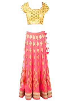 pink & yellow chanderi brocade lehenga by AMRITA THAKUR. Shop at PerniasPopupShop.com #PerniasPopupShop