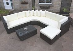 Rattan Outdoor Curved Corner Sofa Set Garden Furniture in Brown by PKL Leisure Price: