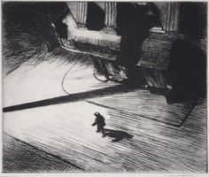 Here's hoping that the groundhog won't see his shadow tomorrow morning like this fellow in Edward Hopper's drawing. Edward Hopper, Night Shadows, Etching: plate, 6 × 8 ¼ in. American Realism, American Art, American Modern, Edward Hopper Paintings, Night Shadow, Long Shadow, Illustration Art, Illustrations, Art History