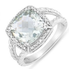 Women's Green Amethyst Fashion Ring with Diamond Accent in Sterling Silver ** You can get additional details at the image link.