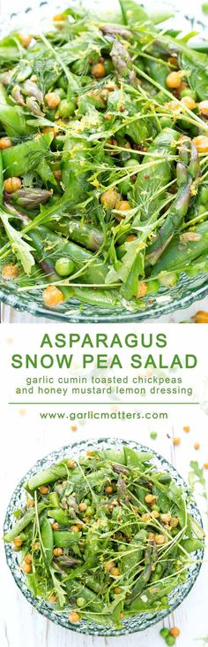 This delicious, vegan Asparagus and Snow Pea Salad recipe comes with garlic cumin toasted chickpeas and honey mustard lemon dressing. It is fresh, green, scrumptiously crunchy and super healthy. Come on in my friends and see how to put this vitamin and protein powerhouse salad together in only 20 min. Perfect lunch for 2 or a side for 4!