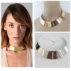 Women Gold Silver-tone Curved Mirrored Metal Choker Collar Mottled Wide Necklace | eBay  US $3.25