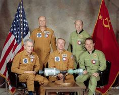 "@greathistory posted to Instagram: Apollo-Soyuz crew: From left to right: Donald ""Deke"" Slayton, Thomas Patten Stafford, Vance Brand, Alexei Leonov, and Valeri Kubasov.  The five crew members of ASTP sitting around a miniature model of their spacecraft . Use the Netflix History 101 Series to bring the space race to brilliant life! These History 101 Worksheets go with Episode 2: Space Race. 40 Multiple-Choice Questions in PDF, plus Examview and Blackboard formats for distance learning… Apollo Spacecraft, Soyuz Spacecraft, Valentina Tereshkova, Neil Armstrong, 1975, Deke Slayton, Apollo Program, Apollo Missions, Fractals"