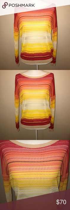 *HP!* (Haute Hippie) Red Striped Open Knit Sweater (Haute Hippie) Red, White, Yellow and Orange Striped Open Knit Sweater. This stunning, delicate sweater with intricate stitching is in excellent used condition. There are two tiny pulls (back, sleeve) that are not visible. 100% rayon. Size XS. Haute Hippie Sweaters Crew & Scoop Necks