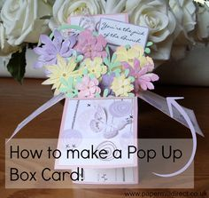 Hello everyone, Sylvia here witha tutorial showing you the basics for making a pop up box card. Pop up box cards are very popular at the moment, wherever you look there are so many in different sizes and subjectsand for all of you who want to have a go but don't known where to begin I hope mytutorial is helpful .