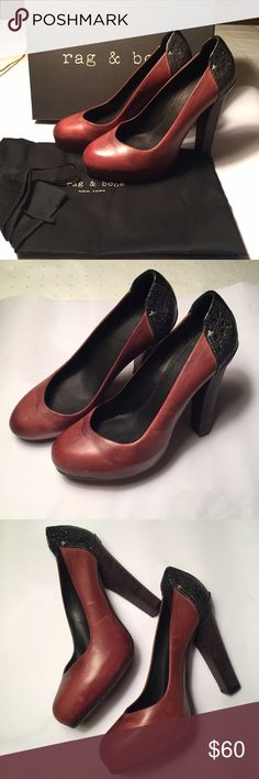 Rag & Bone 'Cleo' Pumps Rag and Bone 'Cleo' pumps/ heels, burgundy brown leather w/ sparkly black at heels. Only worn a couple times, in good condition. Leather has natural discoloration (part of the design and how I bought them-see pics) and a few minor scratches. Come w/ original box and dust bag. rag & bone Shoes Heels