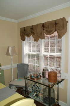 Thrifty Finds And Redesigns: Burlap Curtains Maybe Over Small Kitchen Window