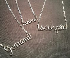 Silver Wire zodiac sign necklace by WorkingWire on Etsy, $18.00