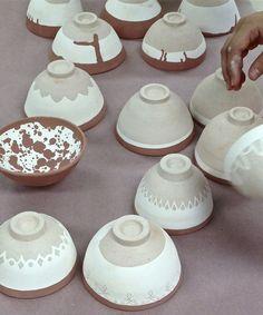 Intermediate Pottery, Preparing to Glaze | white and red slip