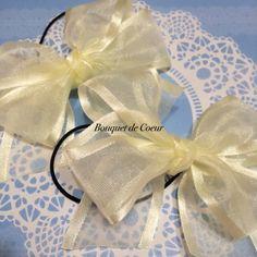 ハンドメイド♡ オーガンジー マカロンリボンゴム二個セット♡ ピンク、ブルー、イエローの3色  http://s.ameblo.jp/bouquet-de-coeur/  A pair of Handmade macaron ribbon hair accessory  Pink, yellow and blue!