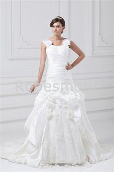 Eté A-ligne Avec bretelles Traîne palais Robe de mariée la plus belle
