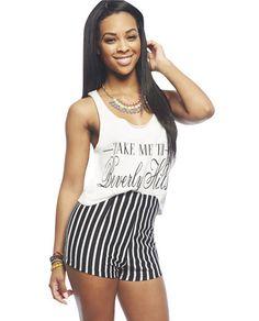 Vertical Stripe High Waisted Short