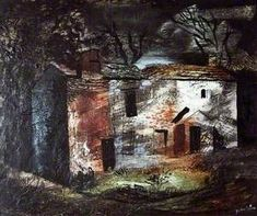 John Piper, Ruin, Dentdale, Yorkshire, date? Oil on wood, 51x 61 cm.