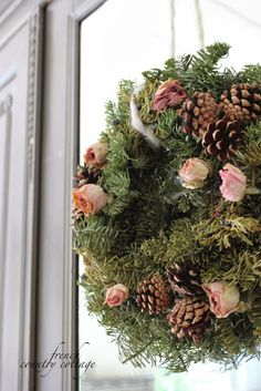 FRENCH COUNTRY COTTAGE: A little bit Merry- Cottage Bedroom Christmas Details  dried roses in the wreath!!  ♥♥♥