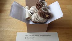 Crochet baby booties Pregnancy Announcement by Mittenandtheyarn