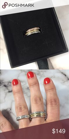 """Elizabeth """"Faithful""""18k Gold Plated Swarovski Ring Elizabeth """"Faithful""""18k Gold Plated Swarovski Ring in size 6 Dressed in Swarovski stones all around the """"Elizabeth"""" always stays true to lighting any room and sealing the deal with a touch of 18k yellow gold perfection. A statement accessory for an evening night out and fancy dinner date.  Product Specifications:  18k Yellow, Rose, and White Gold Plating Genuine Swarovski Stone Stone Size: 1.3mm Stone Count: 54 Swarovski Crystals Cluster…"""