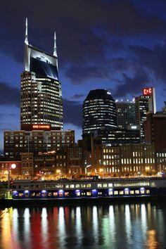 "Nashville, TN skyline everybody loves the ""batman"" building."