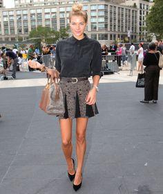 The black shirt and skirt