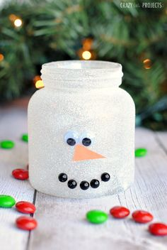 Christmas Treat Jars-Cute Mason Jar Crafts for Kids Christmas Craft Projects, Preschool Christmas, Christmas Activities, Christmas Treats, Kids Christmas, Holiday Crafts, Simple Christmas, Navidad Simple, Navidad Diy