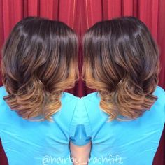 Long angled bob enhanced with face framing balayage ombre highlights. Rich brown base with golden blonde ends. Colormelt created using redken chromatics and olaplex in the lightener to keep the hair healthy! Beachy waves to enhance the color   Hair by Rachel Fife @ Sara Fraraccio Salon