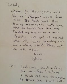 A letter written by James Dean to his father Winton Dean.