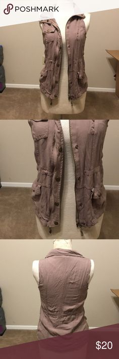 Charlotte Russe jacket! Dark tan Charlotte Russe zipper and button and ties jacket super light material! Charlotte Russe Jackets & Coats Vests