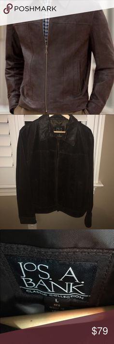 HOST PICK!🎉🎉🍾Jos.A.Bank Men's Large Suede Coat Men's Top Grade Leather Jacket L.  This Jos.A.Bank jacket looks great for those cool days to work with slacks and button up.  Gorgeous suede texture.  Gently used.  Great quality! NO LOW BALL offers please. Jos.A.Bank Jackets & Coats